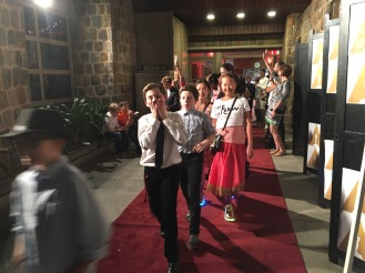 Strutting the red carpet.