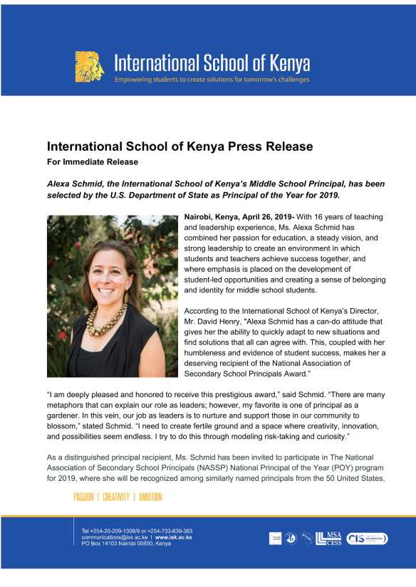 ISK Press Release_ Alexa Schmid-Principal of the Year for 2019-1